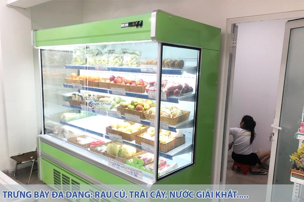tủ trưng bày rau củ trái cây vuông xanh