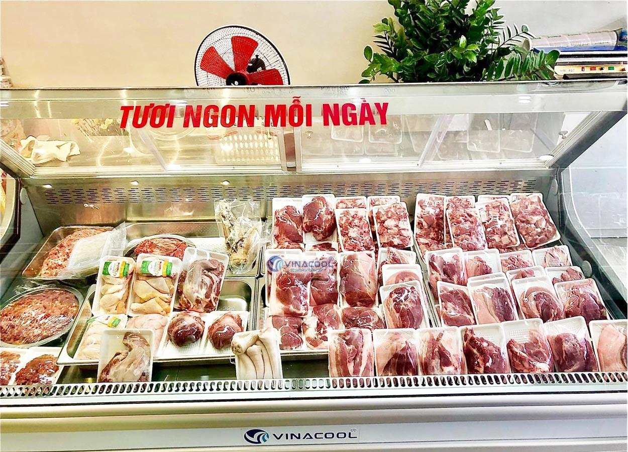 tủ bán thịt tươi sấy kính