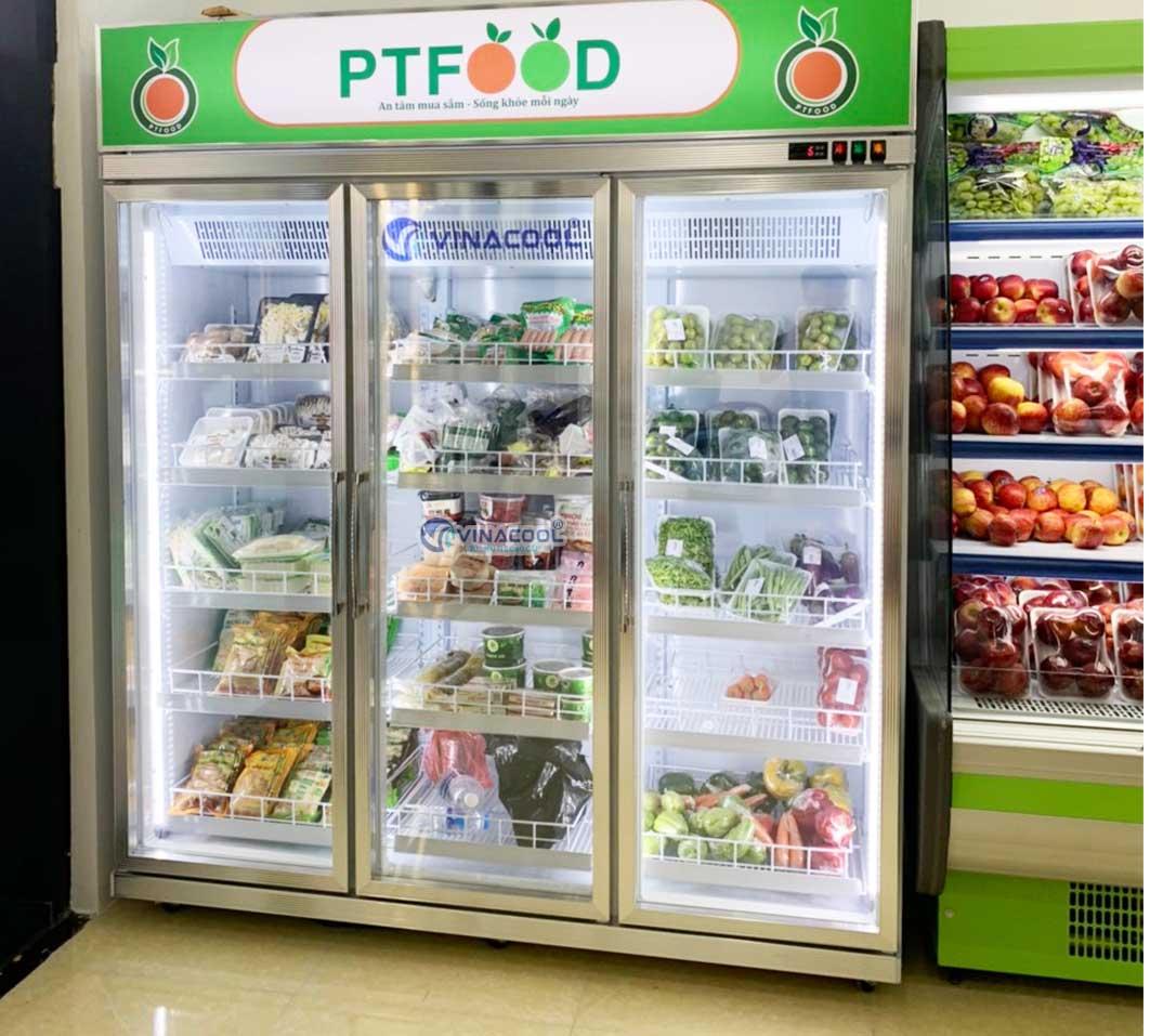 tủ bảo quản thực phẩm 3 cánh kính