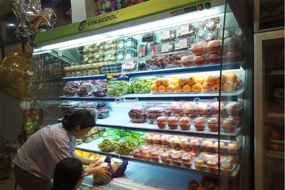 tủ mát trưng bày rau củ quả dài 2m5 màu xanh