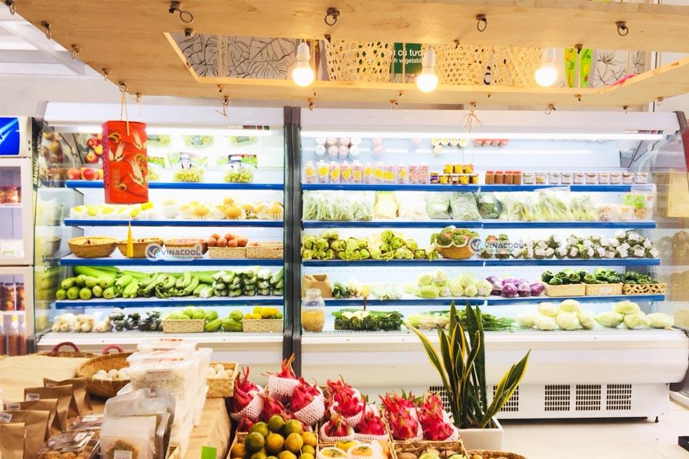 tủ mát trưng bày rau củ trái cây hở vòm cong