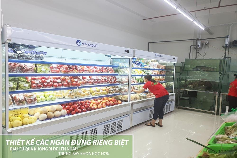 tủ trưng bày rau củ quả không cửa