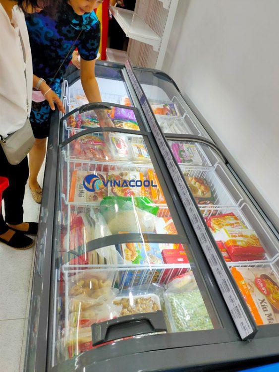 Tủ đông trưng bày thực phẩm cong đôi dài 2m Vinacool