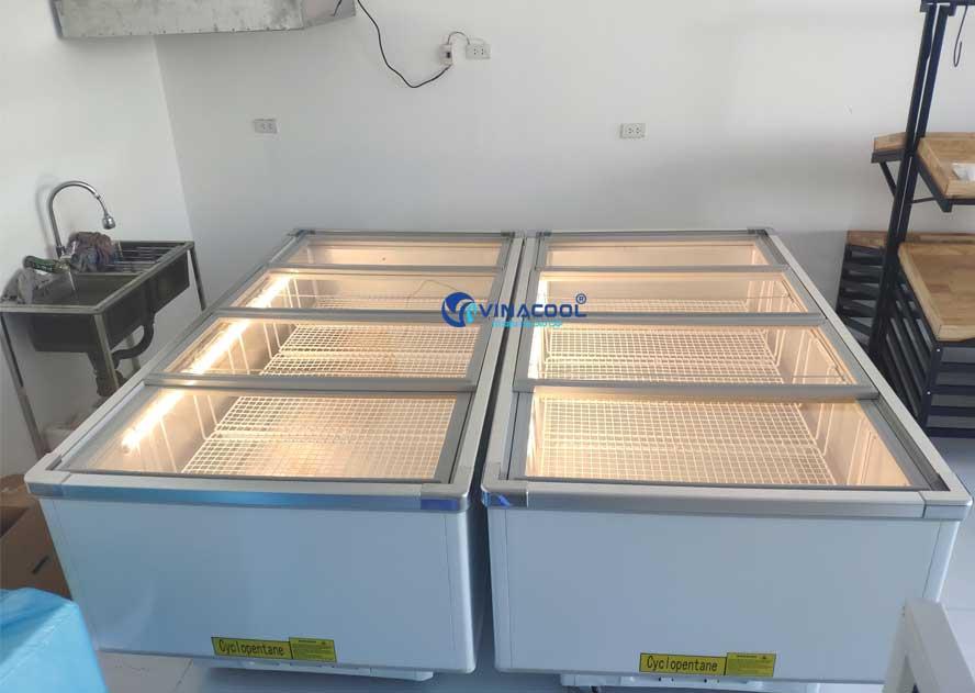 Tủ đông lạnh thực phẩm kính phẳng dài 2m Vinacool