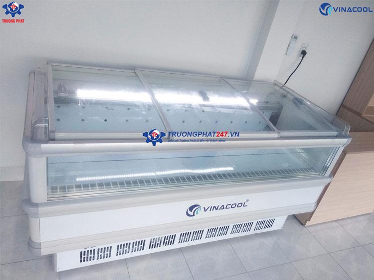 Tủ đông đảo siêu thị 4 mặt kính quạt gió Vinacool