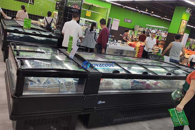 Tủ đảo đông lạnh siêu thị làm mát bằng quạt gió Vinacool