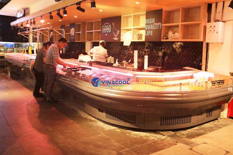 Tủ mát trưng bày thịt tươi cong góc Vinacool