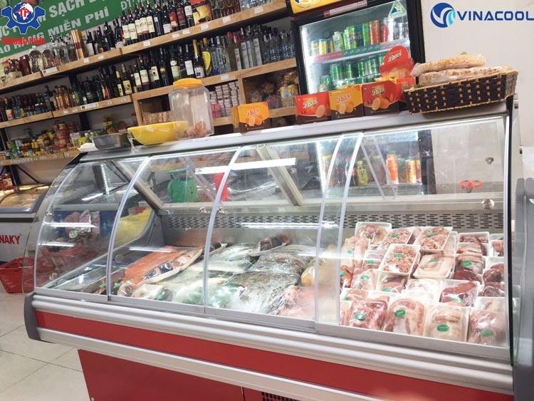 Tủ trưng bày thịt tươi cửa lùa mở trước và sau Vinacool